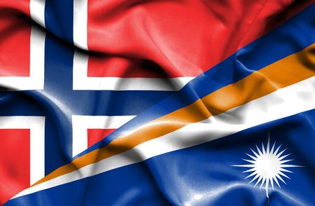 marshall: Waving flag of Marshall Islands and Norway