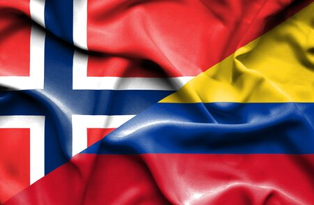 norway flag: Waving flag of Columbia and Norway Stock Photo