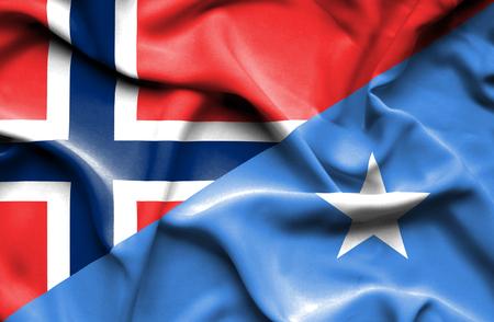 norway flag: Waving flag of Somalia and Norway Stock Photo