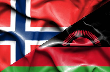 malawian flag: Waving flag of Malawi and Norway