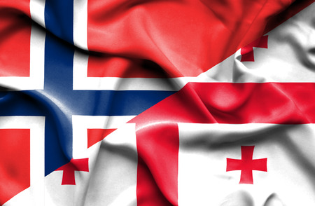 norway flag: Waving flag of Georgia and Norway