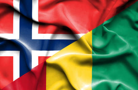 norway flag: Waving flag of Guinea and Norway