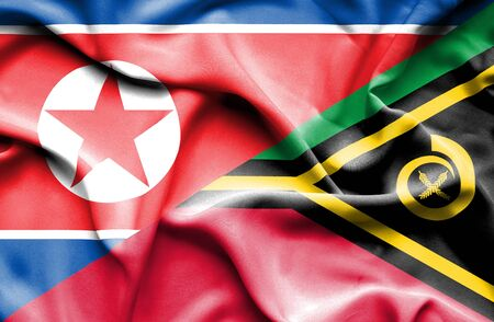 north korea: Waving flag of Vanuatu and North Korea