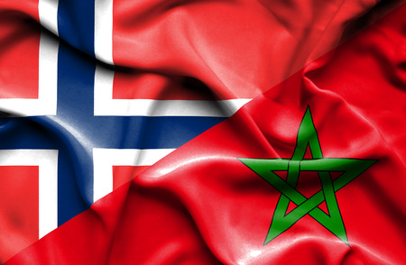 norway flag: Waving flag of Morocco and Norway
