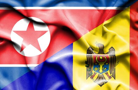 north korea: Waving flag of Moldavia and North Korea