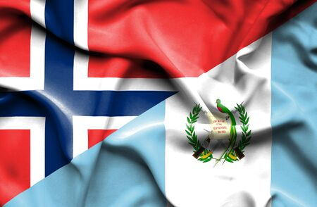 norway flag: Waving flag of Guatemala and Norway