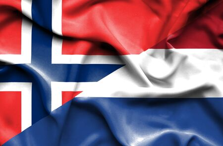 norway flag: Waving flag of Netherlands and Norway