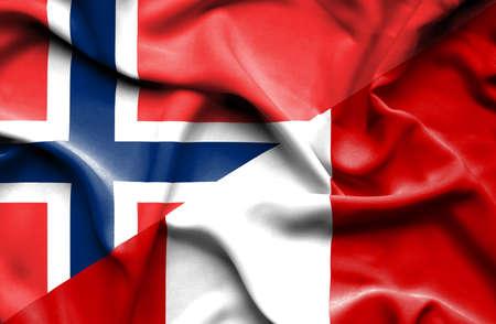 norway flag: Waving flag of Peru and Norway