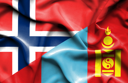 norway flag: Waving flag of Mongolia and Norway