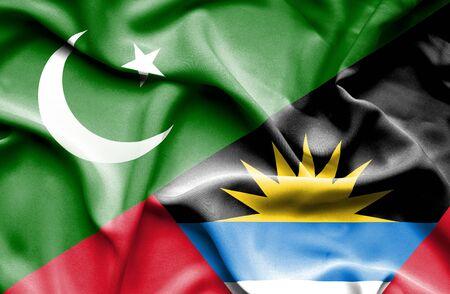 antigua: Waving flag of Antigua and Barbuda and Pakistan