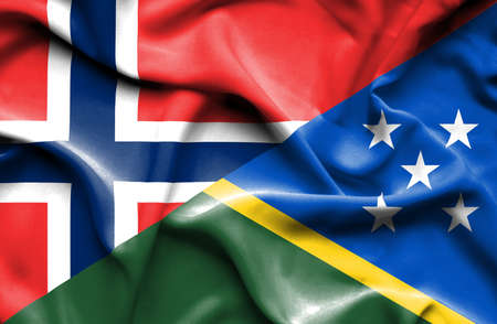 norway flag: Waving flag of Solomon Islands and Norway