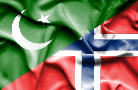 flag of pakistan: Waving flag of Norway and Pakistan Stock Photo