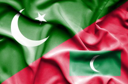 flag of pakistan: Waving flag of Maldives and Pakistan