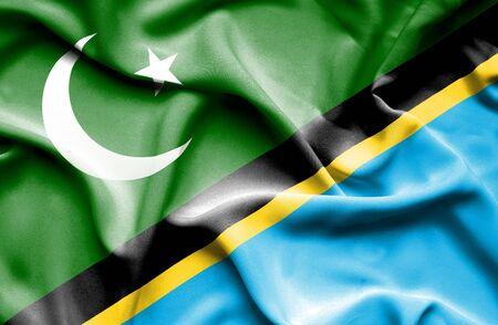 tanzania: Waving flag of Tanzania and Pakistan