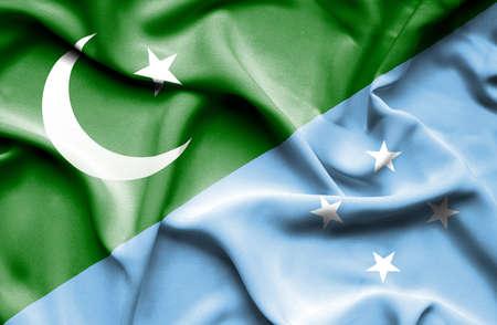 flag of pakistan: Waving flag of Micronesia and Pakistan