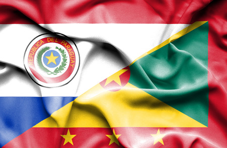 paraguay: Waving flag of Guernsey and Paraguay