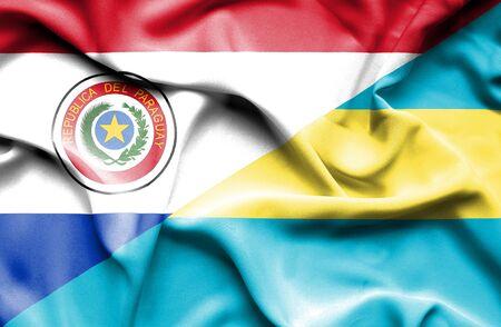 bahamas: Waving flag of Bahamas and Paraguay Stock Photo