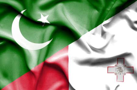 flag of pakistan: Waving flag of Malta and Pakistan