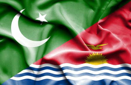 kiribati: Waving flag of Kiribati and Pakistan Stock Photo