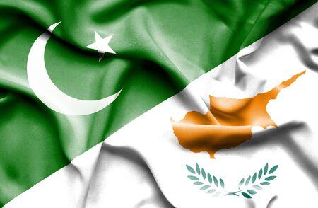 flag of pakistan: Waving flag of Cyprus and Pakistan