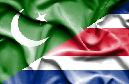 costa: Waving flag of Costa Rica and Pakistan Stock Photo
