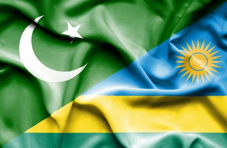 flag of pakistan: Waving flag of Rwanda and Pakistan
