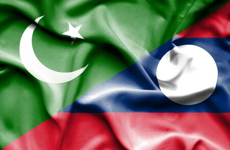 flag of pakistan: Waving flag of Laos and Pakistan