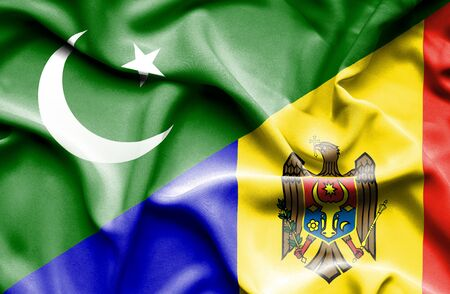 moldavia: Waving flag of Moldavia and Pakistan
