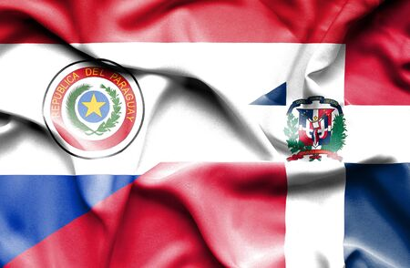 dominican: Waving flag of Dominican Republic and Paraguay