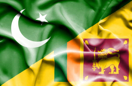 sri lankan flag: Waving flag of Sri Lanka and Pakistan
