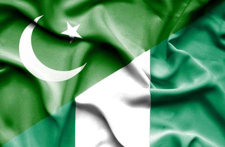 flag of pakistan: Waving flag of Nigeria and Pakistan