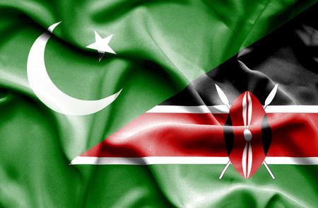 kenya: Waving flag of Kenya and Pakistan