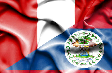 belize: Waving flag of Belize and Peru Stock Photo