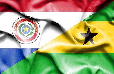 principe: Waving flag of Sao Tome and Principe and Paraguay