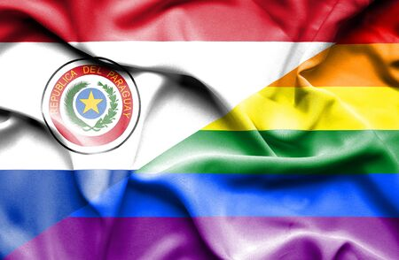 pride: Waving flag of Pride and Paraguay