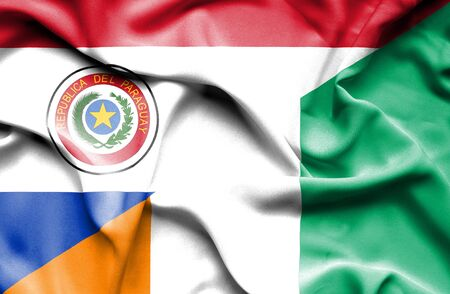 paraguay: Waving flag of Ivory Coast and Paraguay Stock Photo