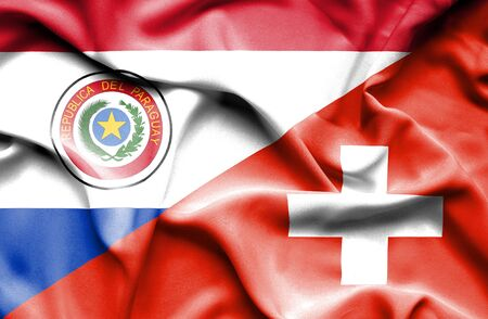 paraguay: Waving flag of Switzerland and Paraguay