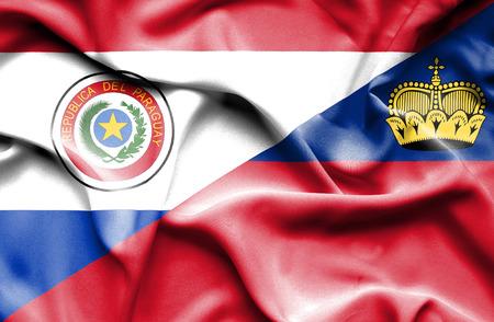 lichtenstein: Waving flag of Lichtenstein and Paraguay