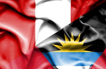 antigua: Waving flag of Antigua and Barbuda and Peru