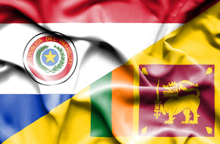 sri lanka: Waving flag of Sri Lanka and Paraguay Stock Photo