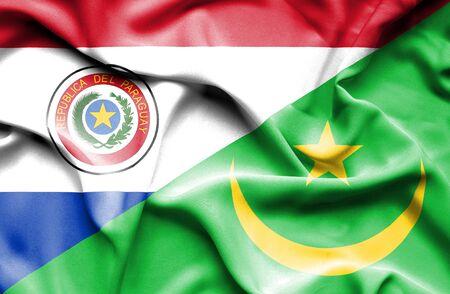 mauritania: Waving flag of Mauritania and Paraguay