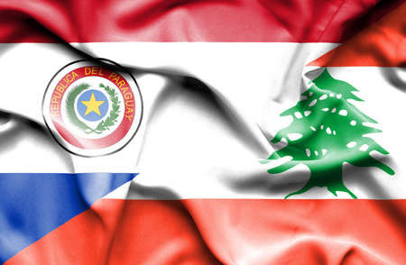 paraguay: Waving flag of Lebanon and Paraguay