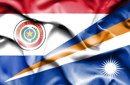 marshall: Waving flag of Marshall Islands and Paraguay Stock Photo