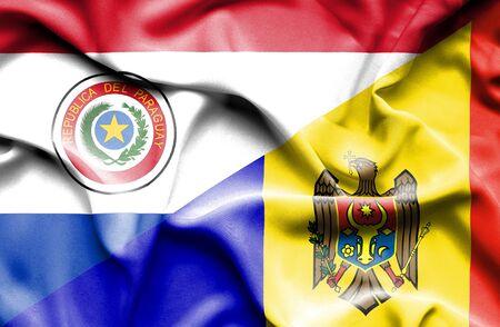 moldavia: Waving flag of Moldavia and Paraguay