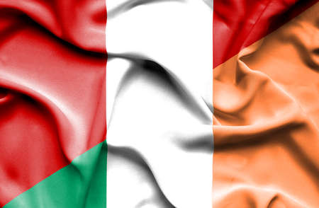 irish history: Waving flag of Ireland and Peru