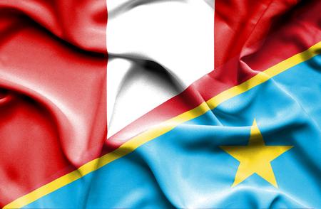 republic of peru: Waving flag of Congo Democratic Republic and Peru