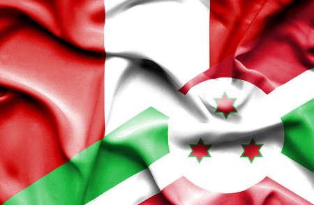 burundi: Waving flag of Burundi and Peru