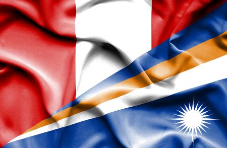 marshall: Waving flag of Marshall Islands and Peru
