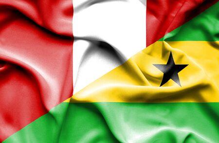 principe: Waving flag of Sao Tome and Principe and Peru