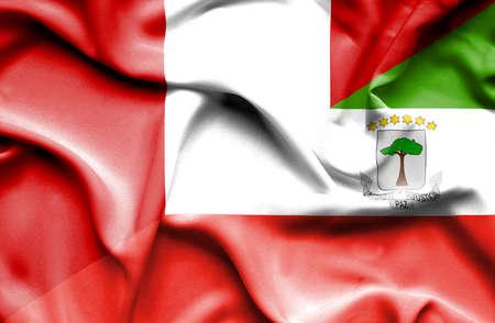 equatorial: Waving flag of Equatorial Giuinea and Peru
